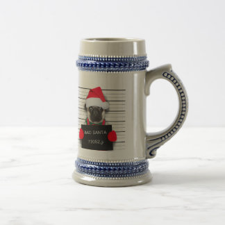 Christmas pug - mugshot dog - santa pug beer stein
