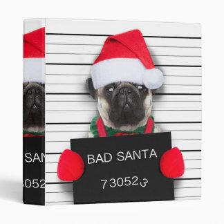 Christmas pug - mugshot dog - santa pug binder