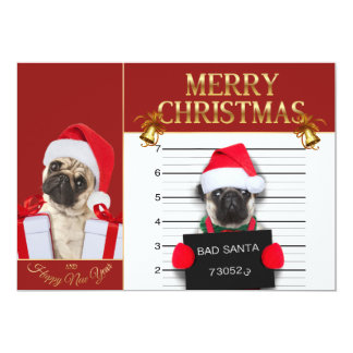 Christmas pug - mugshot dog - santa pug card