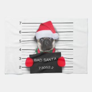 Christmas pug - mugshot dog - santa pug kitchen towel