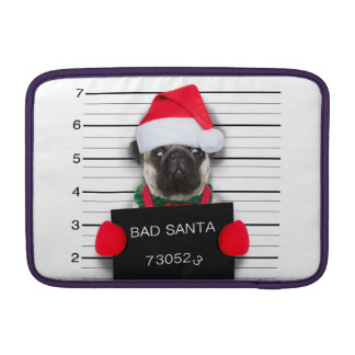Christmas pug - mugshot dog - santa pug MacBook sleeve