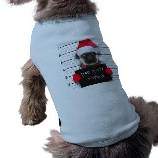 Christmas pug - mugshot dog - santa pug shirt