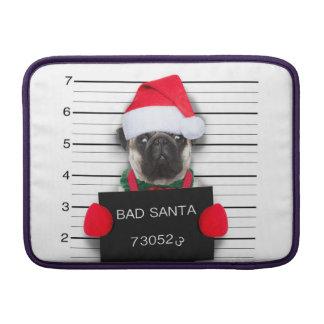 Christmas pug - mugshot dog - santa pug sleeve for MacBook air