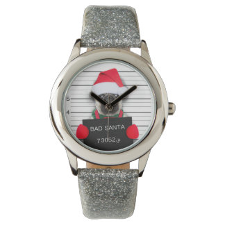 Christmas pug - mugshot dog - santa pug watch