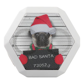 Christmas pug - mugshot dog - santa pug white bluetooth speaker