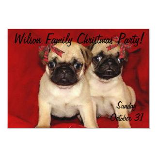 Christmas pug puppies card
