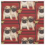 Christmas pug puppies dog pattern Fabric