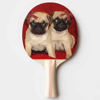Christmas pug puppies ping pong paddle