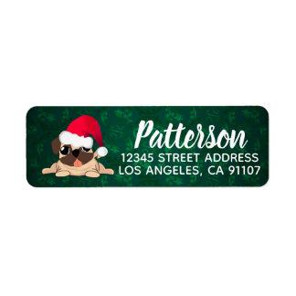 Christmas Pug Return Address Label