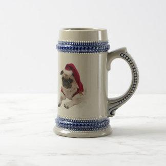 Christmas pug - santa claus dog - dog claus beer stein