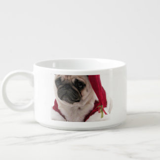 Christmas pug - santa claus dog - dog claus bowl