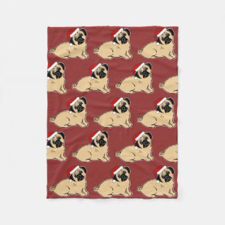 Christmas Pugs Pattern Cranberry Fleece Blanket