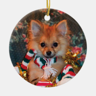 Christmas Puppy Ceramic Ornament
