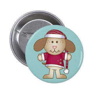 Christmas Puppy Elf 2 Inch Round Button