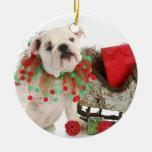Christmas Puppy - English Bulldog Puppy Sitting Round Ceramic Ornament