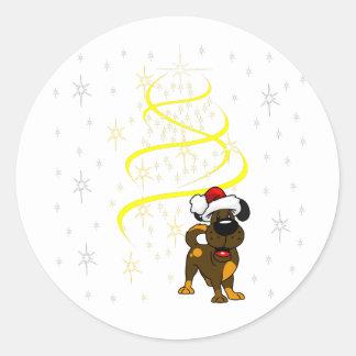 Christmas Pups Classic Round Sticker