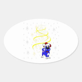 Christmas Pups Oval Sticker