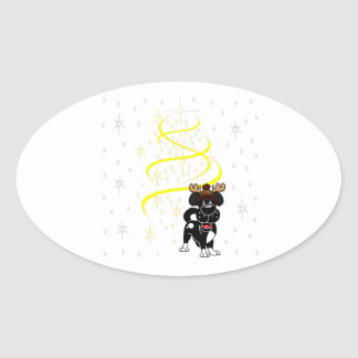 Christmas Pups Oval Sticker