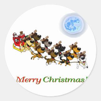 Christmas Pups Round Sticker