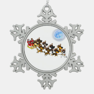 Christmas Pups Snowflake Pewter Christmas Ornament