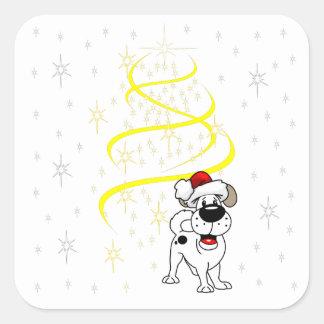 Christmas Pups Square Sticker