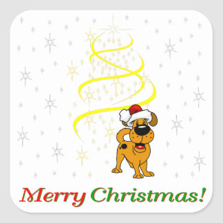 Christmas Pups Square Sticker