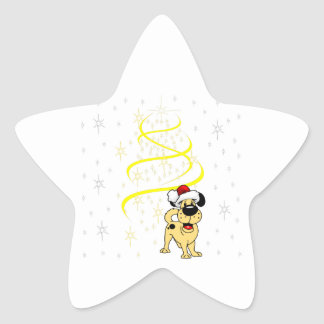 Christmas Pups Star Sticker