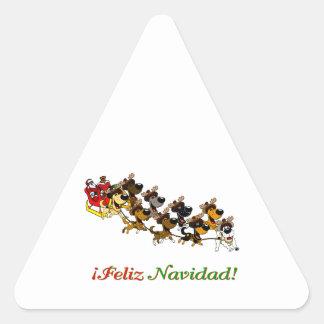 Christmas Pups Triangle Sticker
