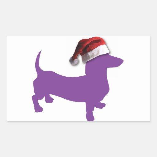 Christmas Purple Dachshund Rectangle Sticker