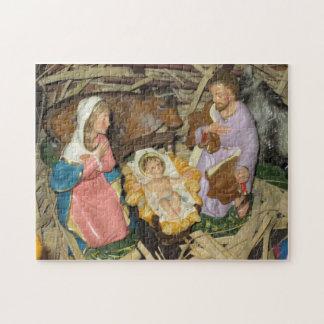 Christmas Puzzle Nativity Vintage Manger Creche