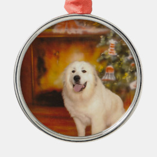 Christmas Pyr Silver-Colored Round Ornament