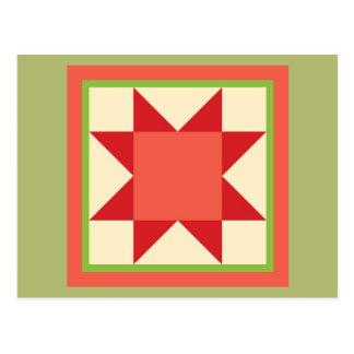 Christmas Quilt Postcard - Sawtooth Star