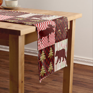 Christmas Quilting Buffalo Plaid Reindeer Bear Short Table Runner