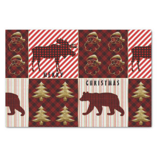 Christmas Quilting Buffalo Plaid Reindeer Bear Tissue Paper
