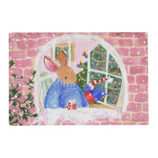 Christmas Rabbit and Bird Placemat Laminated Place Mat