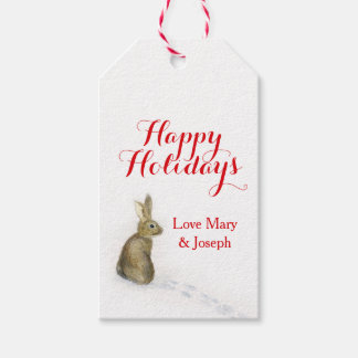 Christmas rabbit in the snow gift tag