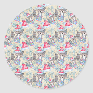Christmas Raccoon Classic Round Sticker