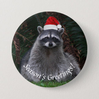 Christmas Raccoon Holiday 3 Inch Round Button