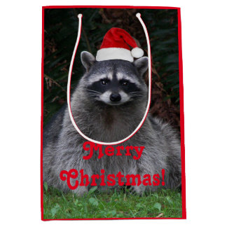 Christmas Raccoon Holiday Medium Gift Bag