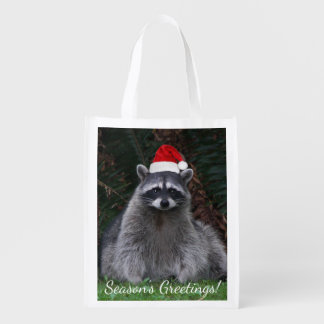 Christmas Raccoon Holiday Reusable Grocery Bag