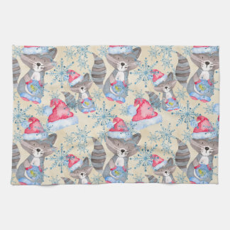 Christmas Raccoon Kitchen Towel