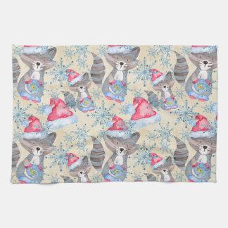 Christmas Raccoon Kitchen Towel
