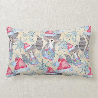 Christmas Raccoon Lumbar Pillow