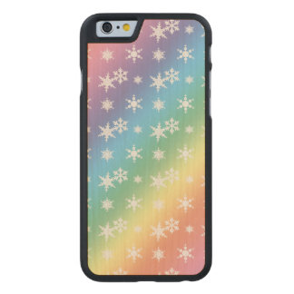Christmas rainbow snowflakes pattern carved® maple iPhone 6 slim case