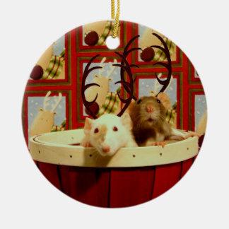 Christmas Rats Ceramic Ornament