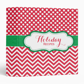 Christmas Recipe Red and Green Holiday Binder