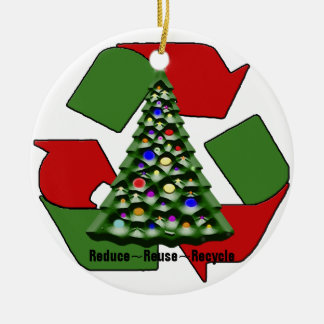 Christmas Recyclables Ceramic Ornament