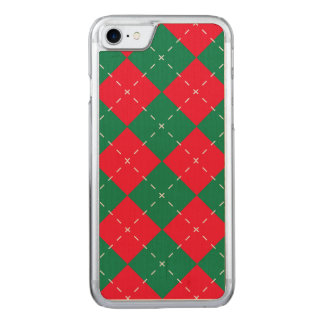Christmas Red and Green Argyle Pattern Carved iPhone 8/7 Case
