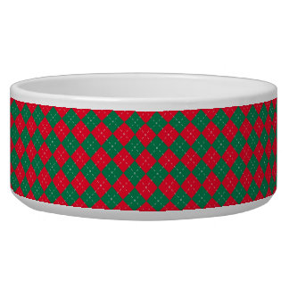 Christmas Red and Green Argyle Pattern Pet Water Bowls