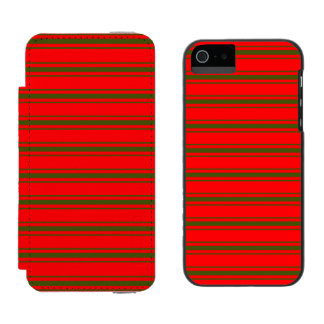 Christmas Red and Green Bedding Stripes Incipio Watson™ iPhone 5 Wallet Case